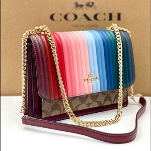 Coach Klare Crossbody With Rainbow Linear Quilting
